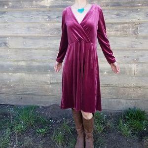 A New Day | pink velvet surplice neck dress